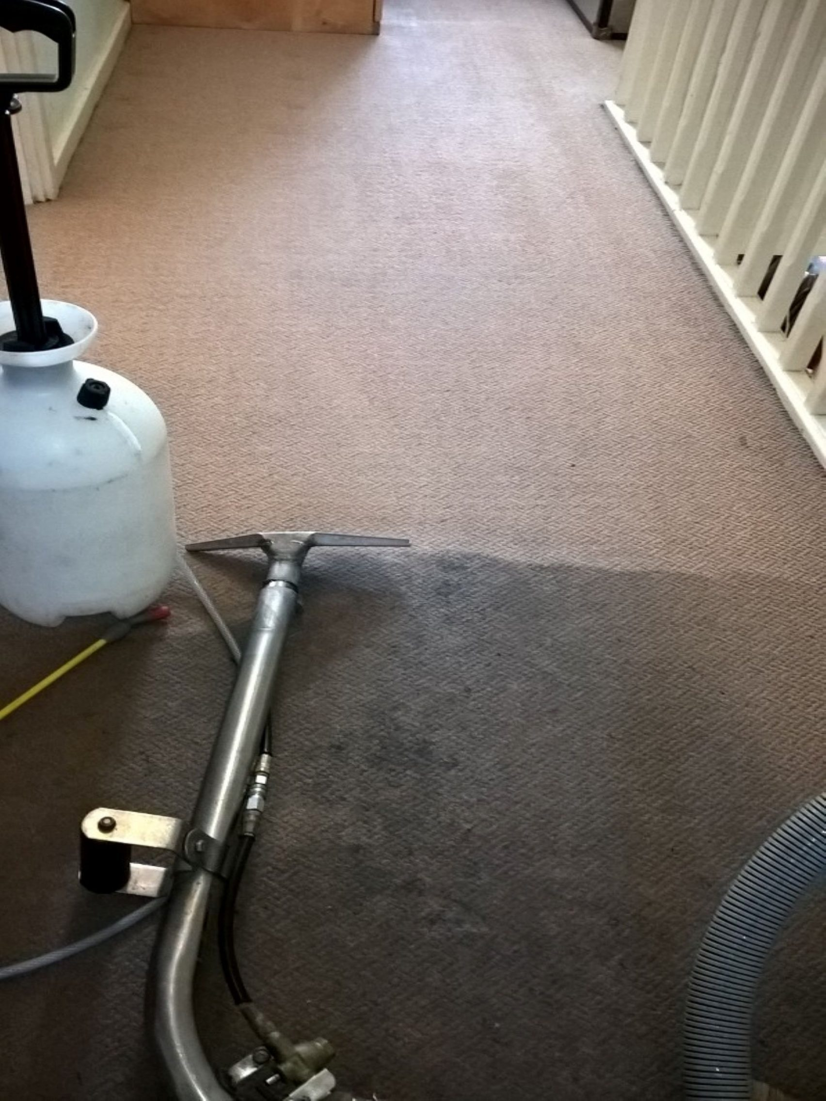 cleaning a landing carpet